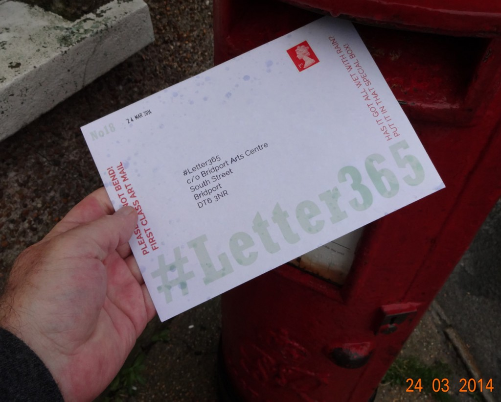 The slightly rain-spattered #Letter365 No18 gets posted
