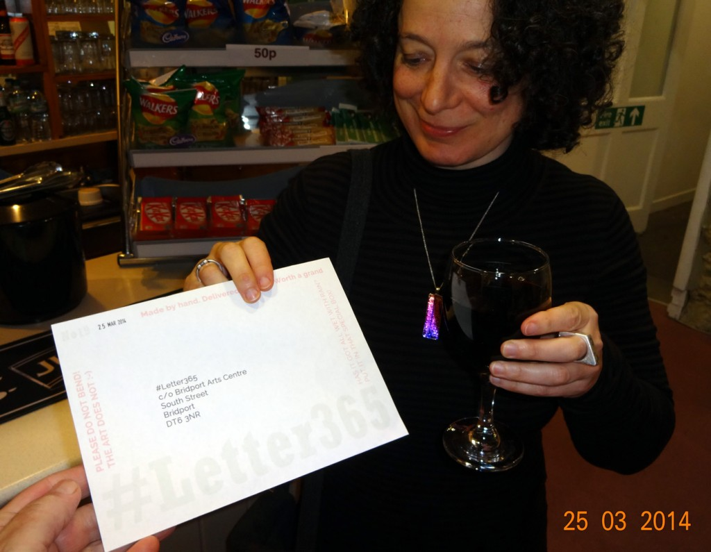 Polly Gifford accepts #Letter365 No19 in the Arts Centre bar