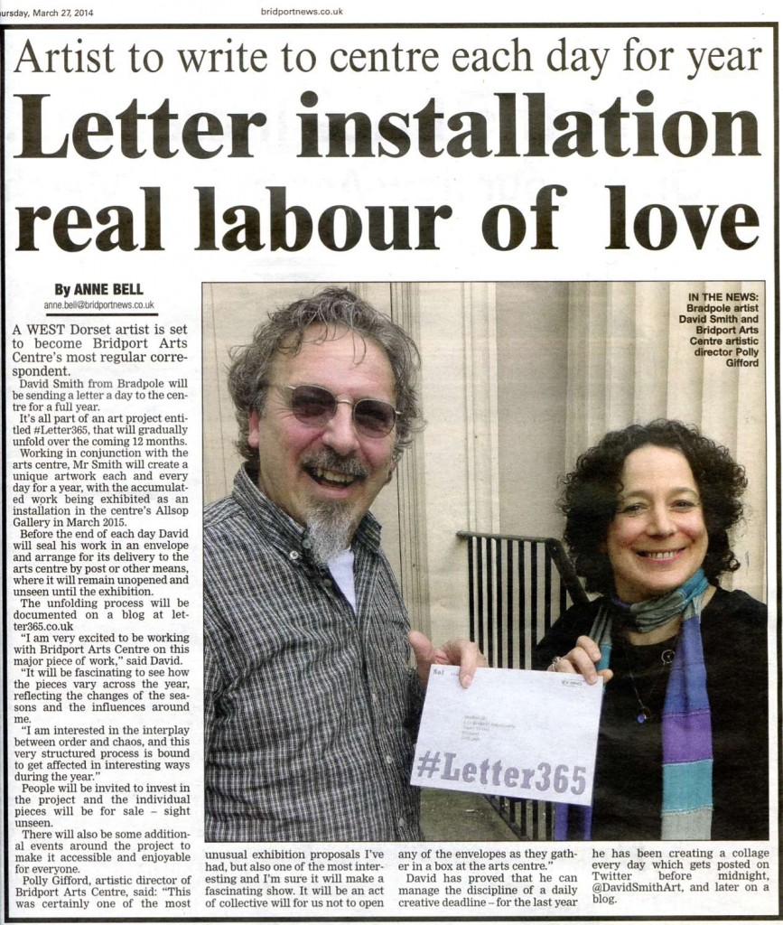 David Smith delivers first #Letter365 to Polly Gifford - article in Bridport News