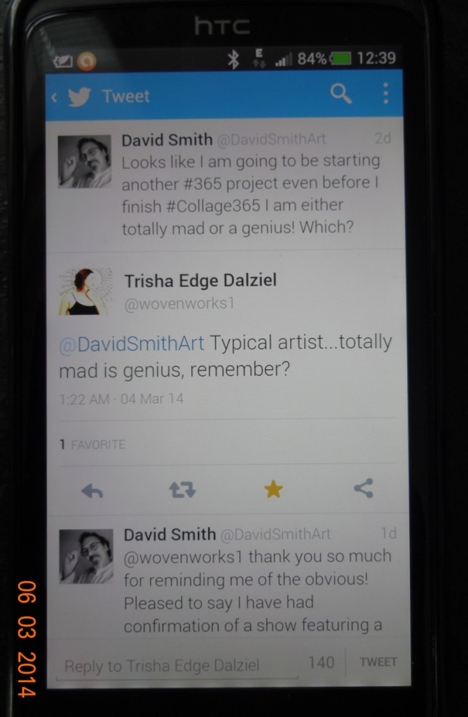Phone screen showing Twitter conversation
