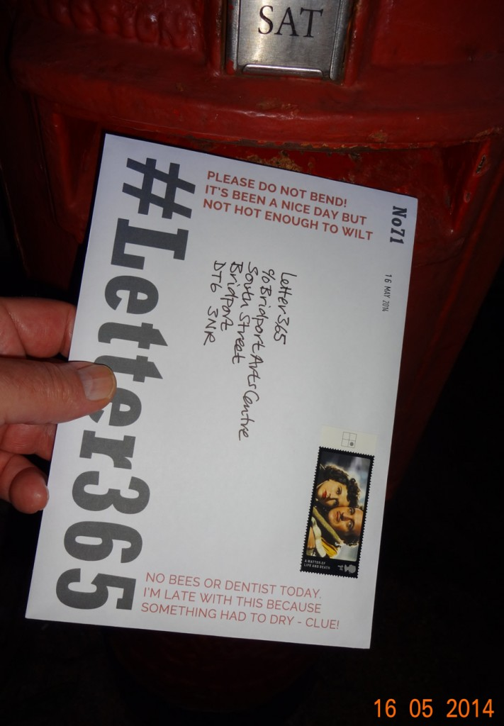 #Letter365 No71 goes in the box with a nice stamp and a hand-written address