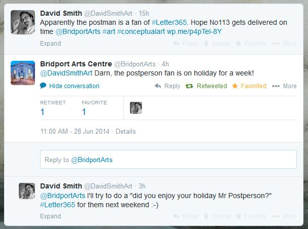 Twitter exchange between David Smith and Bridport Arts Centre