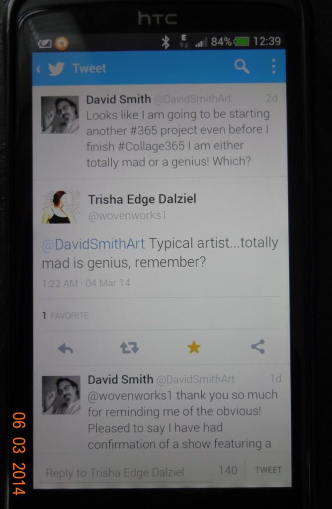 Phone screen showing Twitter conversation