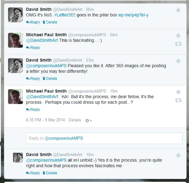 Twitter exchange with Michael Paul Smith
