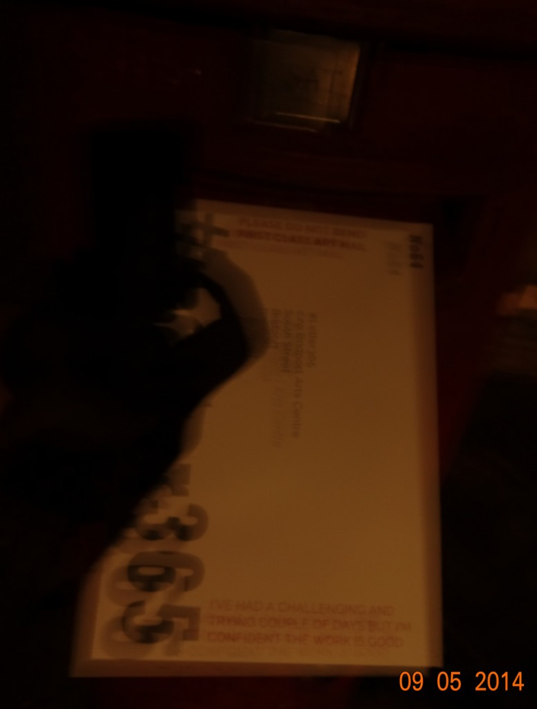 Dark, blurred photo of #Letter365 No64 being posted without a stamp!