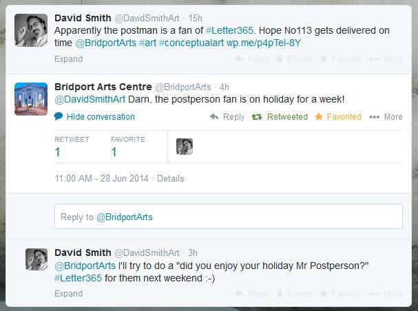 Twitter exchange between David Smith and Bridport Arts Centre