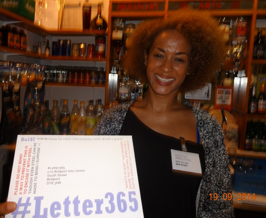 Beki takes delivery of #Letter365 No197 at the Arts Centre bar